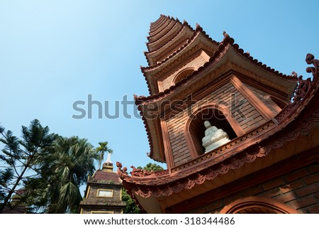 Pagoda of Tran Quoc temple in Hanoi, Vietnam
