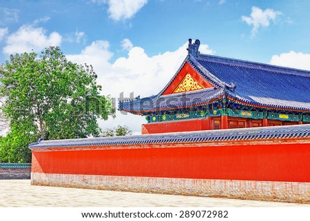 Pagodas, pavilions within the complex of the Temple of Heaven in Beijing, China. - stock photo