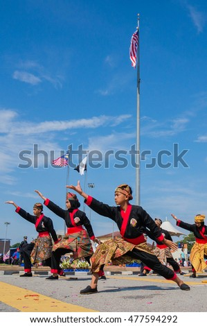 Pahang, Malaysia - 31 August 2016: A group of martial artist of silat (Malay traditional self defend) demonstrating martial art skills during celebration of Malaysia Independence day.