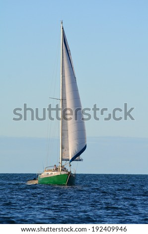 PAIHIA,NZ - MAY 11 2014:Yacht sail in the Bay of Islands.It is one of the most popular fishing, sailing and tourist destinations in New Zealand.