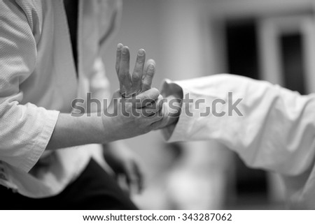 Pain control in martial arts - stock photo