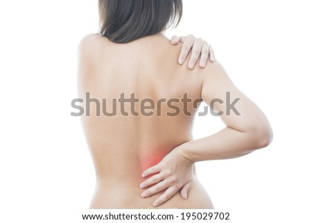Pain in back of women. Isolated on white background. Caring for the female body. Red dot - stock photo