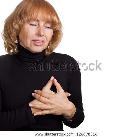 Pain in chest concept.Medical theme - stock photo
