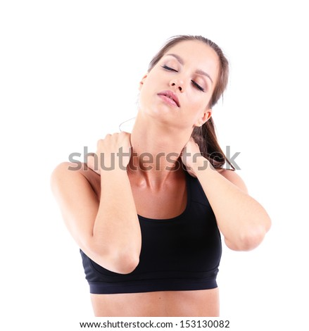 Pain in neck of girl isolated on white - stock photo