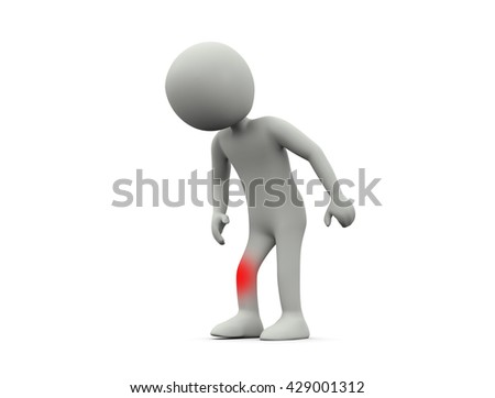 Pain in the knee.3D illustration