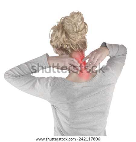 Pain in the woman neck - stock photo