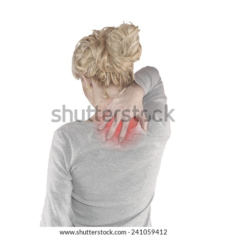 Pain in woman neck. Female holding hands on spot pain neck.