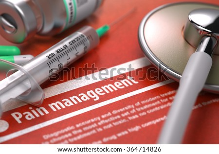 Pain Management - Medical Concept on Orange Background and Medical Composition - Stethoscope, Pills, Injection and Syringe. Blurred Image. - stock photo