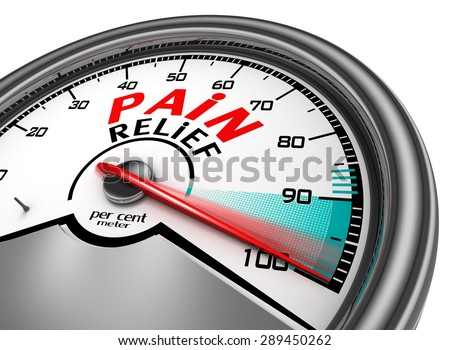 pain relief meter indicate hundred per cent, isolated on white background - stock photo