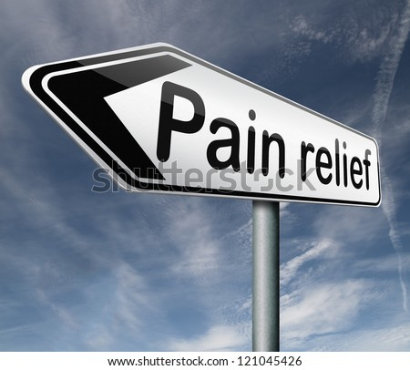 pain relief or management by painkiller or other treatment chronic back injury road sign with text - stock photo