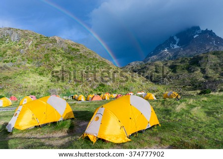 Paine Grande campsite while hiking the W Trek in Torres del Paine - stock photo