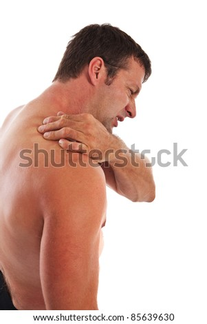Painful Mid-age Man Holding Neck on Isolated Background