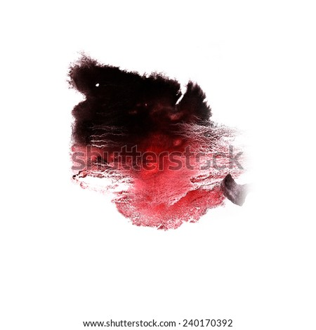paint art brushes  splash black, red ink blot and white abstract background isolated - stock photo