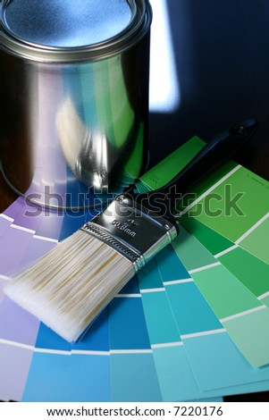 Paint Brush and Can with Swatches - stock photo