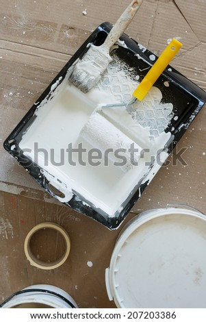 paint brush and paint roller with white paint