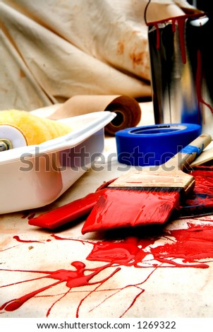 Paint brush and supplies - stock photo