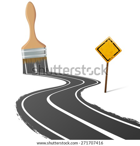 paint brush draws the road next to a traffic sign - stock photo