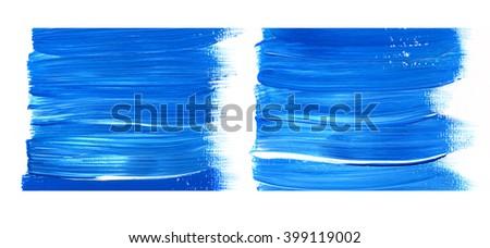 Paint brush stroke texture. Blue acrylic paint blotch isolated on white background - stock photo