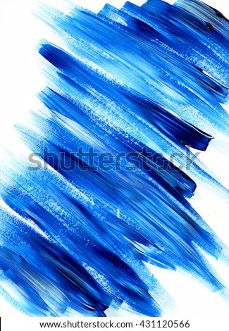 Paint brush stroke texture. Blue acrylic paint blotch isolated on white background