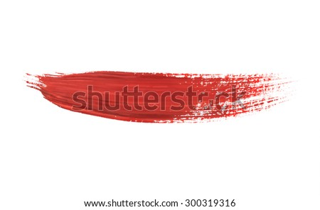 paint brush stroke texture red watercolor spot blotch isolated - stock photo