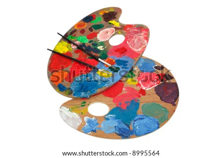 Paint brushes and pallet - stock photo
