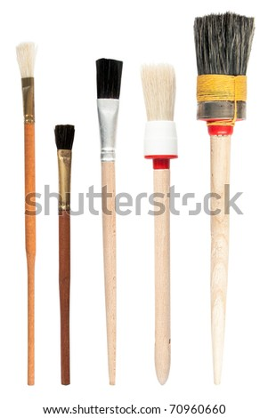 Paint brushes isolated on the white background, set - stock photo