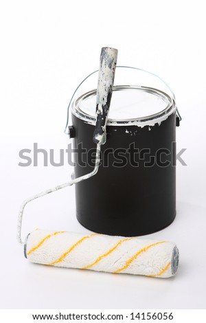 Paint Bucket and  Roller - stock photo