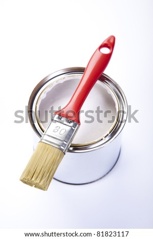 Paint buckets, paint and brush - stock photo