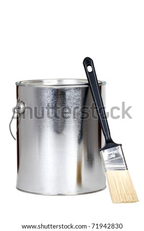 paint can and brush - stock photo