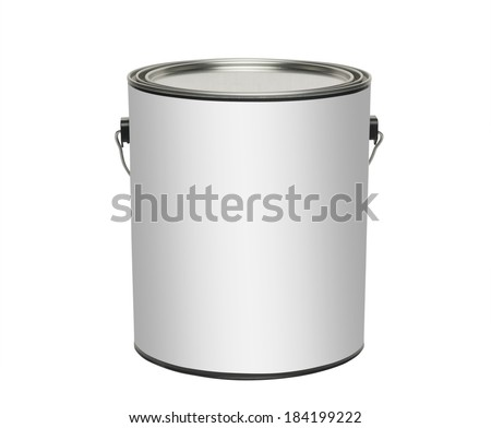 Paint can with blank white label for type, isolated with clipping path - stock photo
