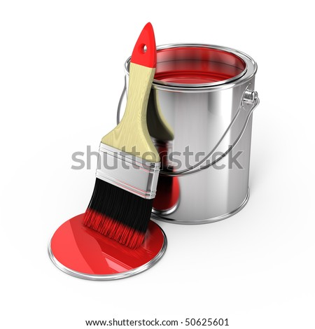 Paint can with brush - stock photo