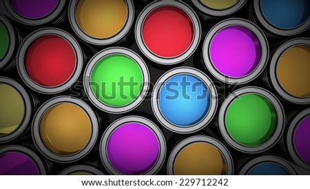 Paint cans color palette background. High resolution 3d  - stock photo