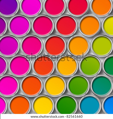 Paint cans color palette, cans opened top view isolated on white - stock photo