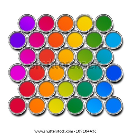 Paint cans color spectrum, top view isolated on white - stock photo