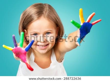 Paint, child, boy. - stock photo