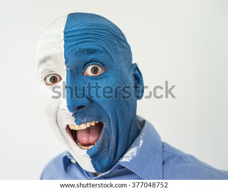 Paint color gesture expression man face