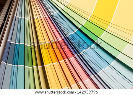 Paint colour palette in close-up. - stock photo