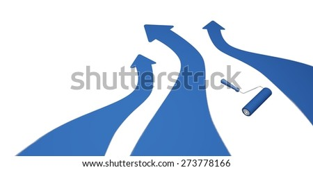 Paint. 3D. Blue Stripes and Roller - stock photo