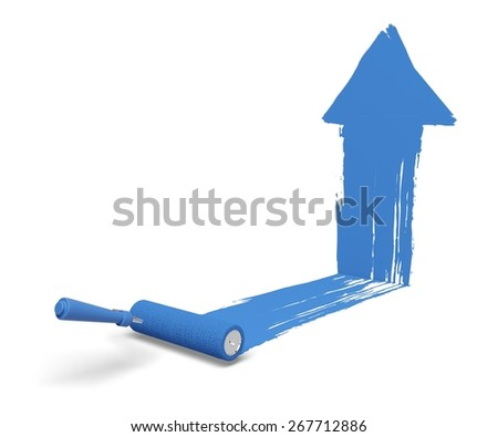 Paint. 3D. Painting Arrow - Up - stock photo