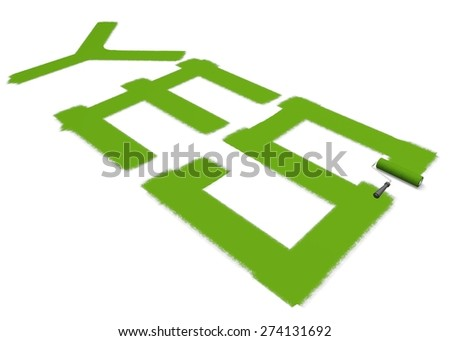 Paint. 3D. Painting Green Yes - stock photo