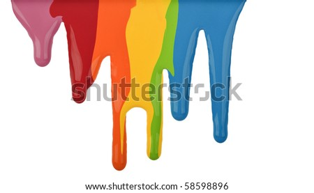 Paint drips isolated on white - stock photo