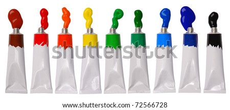Paint in tubes - stock photo