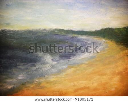 Paint of sunny coast. - stock photo
