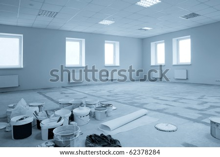 Paint on construction new and modern office - stock photo