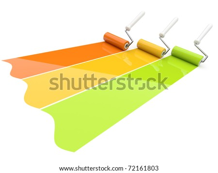 Paint roller draw a palette. Isolated - stock photo