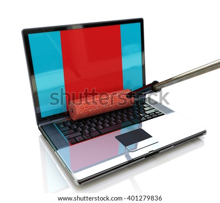 paint roller painting a laptop screen. 3D rendered illustration - stock photo