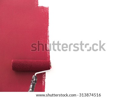 Paint roller, renovation - stock photo