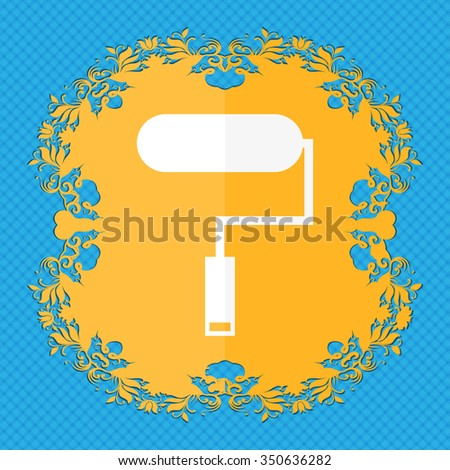 Paint roller sign icon. Painting tool symbol. Floral flat design on a blue abstract background with place for your text. illustration - stock photo