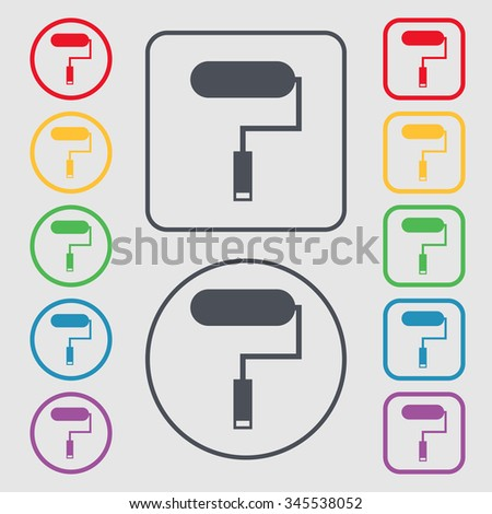 Paint roller sign icon. Painting tool symbol. Symbols on the Round and square buttons with frame. illustration - stock photo