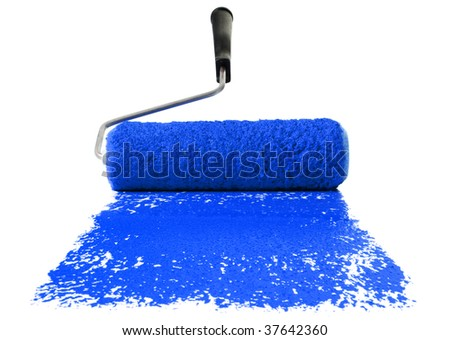 Paint roller With blue paint isolated over white background - stock photo